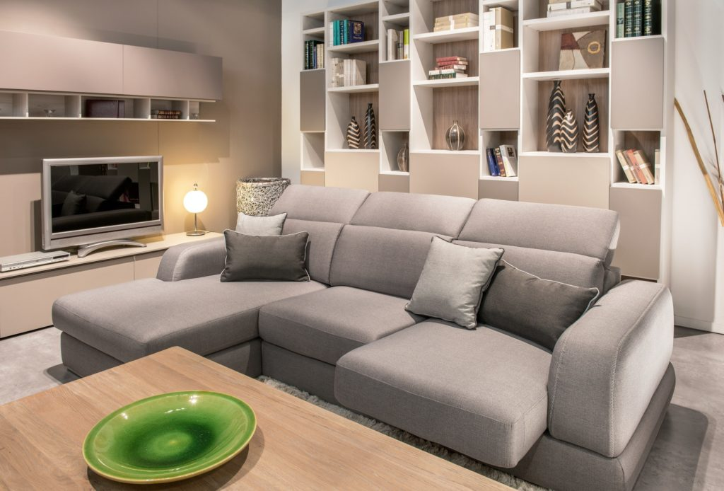 Large comfortable beige sofa in a living room